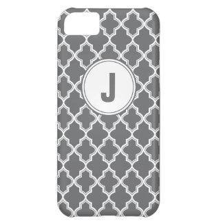 Grey Quatrefoil Monogram IPhone 5 Case