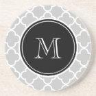 Grey Quatrefoil Pattern, Black Monogram Coaster