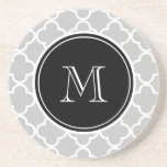 Grey Quatrefoil Pattern, Black Monogram Sandstone Coaster