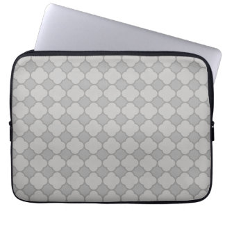 Grey Quatrefoil Pattern Laptop Sleeve