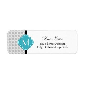Grey Quatrefoil Pattern with Monogram Return Address Label