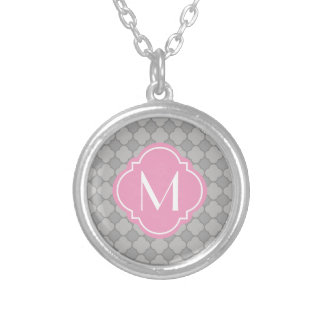 Grey Quatrefoil Pattern with Monogram Silver Plated Necklace