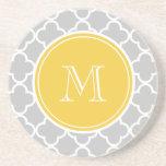 Grey Quatrefoil Pattern, Yellow Monogram Beverage Coaster