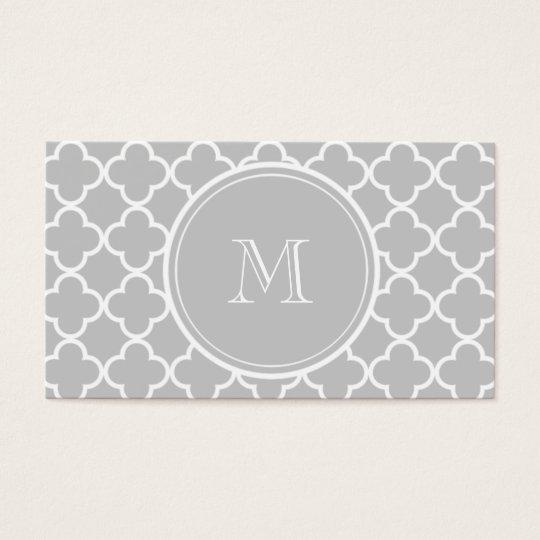 Grey Quatrefoil Pattern, Your Monogram Business Card