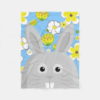 Grey Rabbit in Spring Fleece Blanket