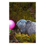 Grey Rabbit with Pink Golf Ball Custom Stationery