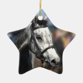 Grey race horse sports portrait christmas ornament