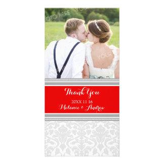 Grey Red Damask Thank You Wedding Photo Cards