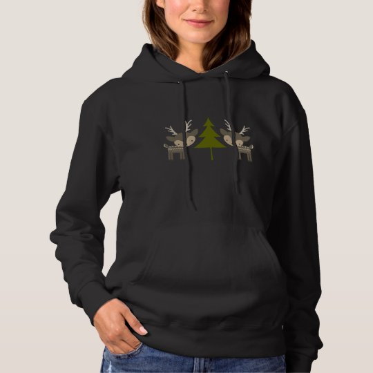 Grey Reindeer Christmas Hooded Sweatshirt