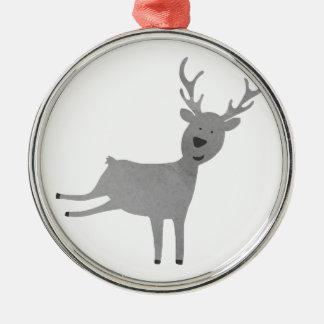 Grey Reindeer Illustration Christmas Ornament