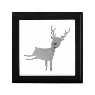 Grey Reindeer Illustration Gift Box