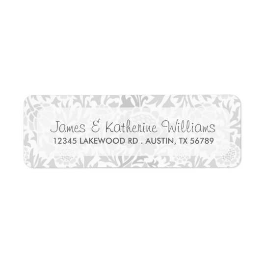 Grey Retro Floral Damask Modern Wedding Return Address Label