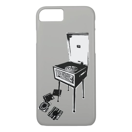 Grey Retro Record Player iPhone 7 Case