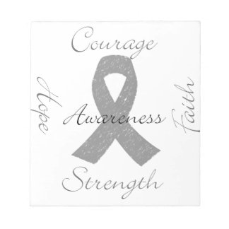 Grey ribbon brain cancer awareness notepad