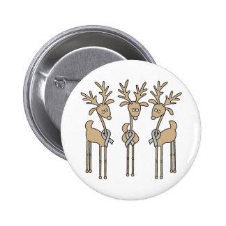 Grey Ribbon Reindeer - Brain Cancer/Brain Tumor 6 Cm Round Badge