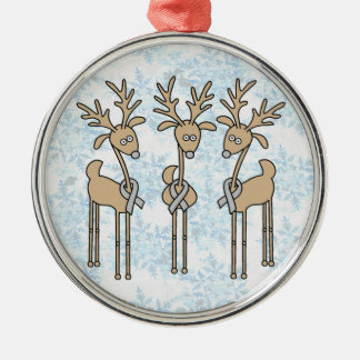 Grey Ribbon Reindeer (Diabetes) Christmas Ornament