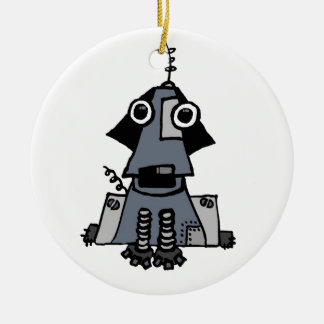 Grey Robot Dog Christmas Ornament