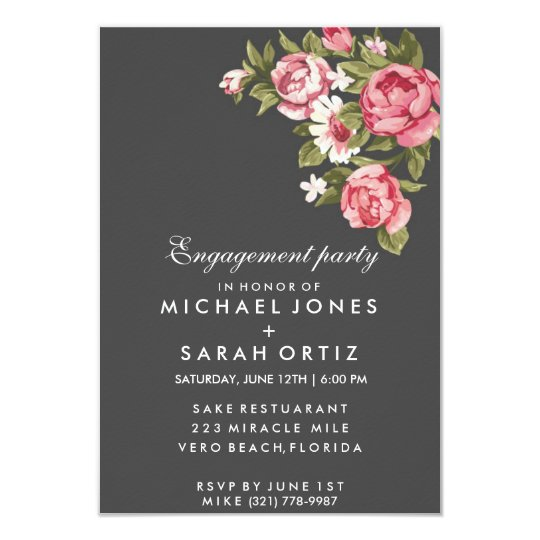 Grey Romantic Rose Engagement Party Invitation