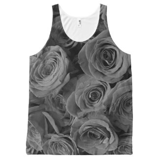 Grey Roses All-Over Print Tank Top