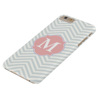 Grey & Rosy Brown Modern Chevron Custom Monogram Barely There iPhone 6 Plus Case