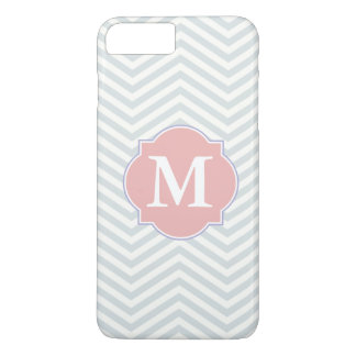 Grey & Rosy Brown Modern Chevron Custom Monogram iPhone 7 Plus Case