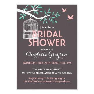 Grey Rustic Bird Cage Bridal Shower Invitation