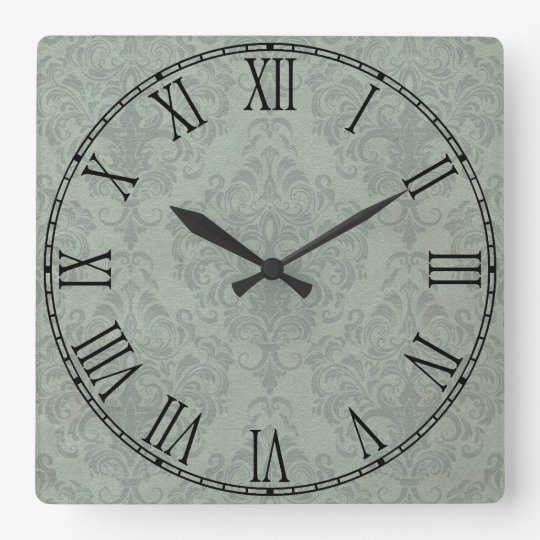 Grey Rustic Damask Vintage Wallpaper Square Wall Clock