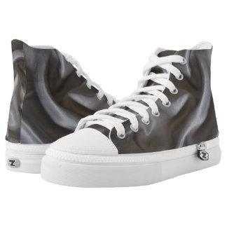 Grey Satin Illusion High Top Sneaker
