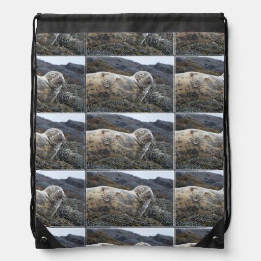 Grey Seal Drawstring Backpacks