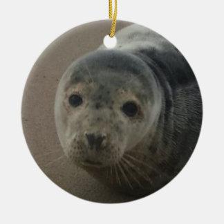 Grey seal pup baby cutesy ornament. round ceramic decoration