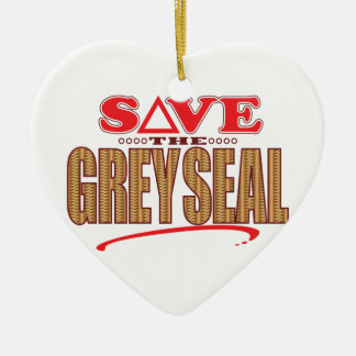 Grey Seal Save Ceramic Heart Decoration