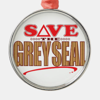 Grey Seal Save Silver-Colored Round Decoration