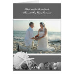 Grey Seashells Wedding Photo Thank You Card