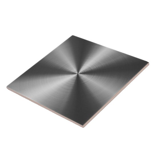 Grey Shiny Metallic Design Stainless Steel Look Large Square Tile