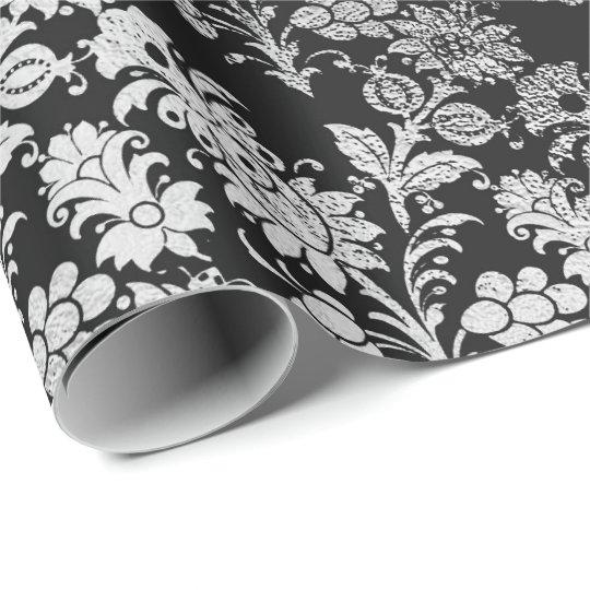 Grey Silver Black Foil Floral Elegant Metallic Wrapping