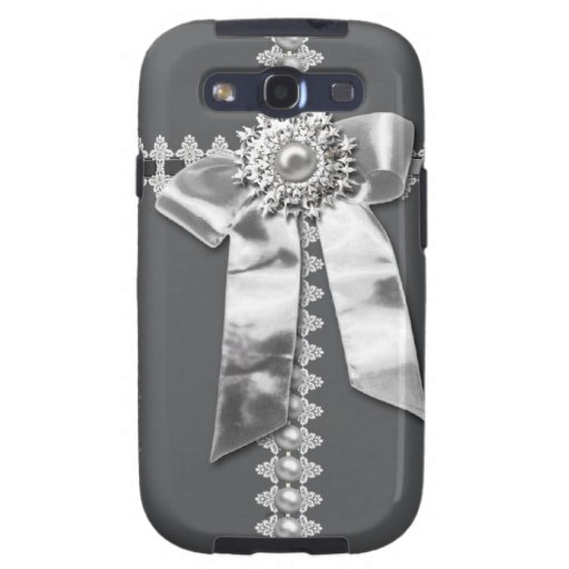 Grey, Silver Bow Pearl Jewel Printed Samsung Case Galaxy S3 Covers