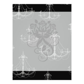 grey silver chandelier damask on black flyer