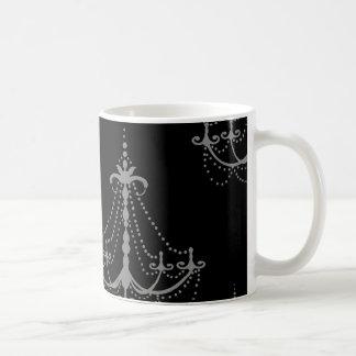 grey silver chandelier damask on black mug
