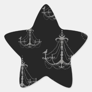 grey silver chandelier damask on black star sticker