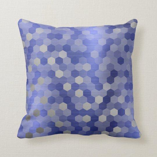 Grey Silver Cobalt Sapphire Blue Hexagon Geometry Cushion