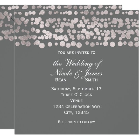 Grey Silver Dots Elegant Glam Wedding Invitations