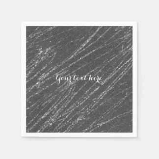 Grey & Silver Modern Glam Marble Stripe Party Disposable Napkin