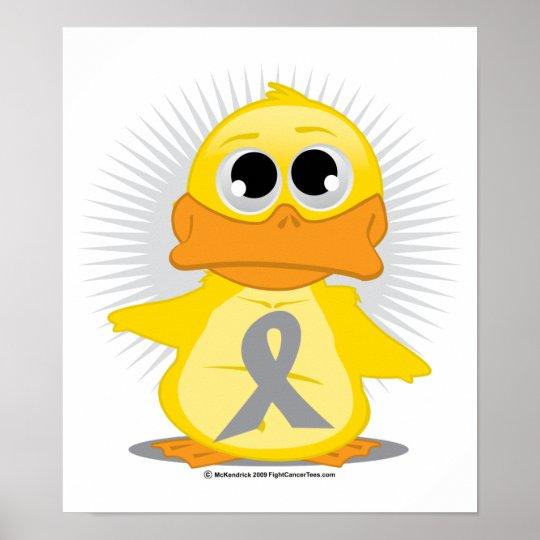 Grey/Silver Ribbon Duck Poster