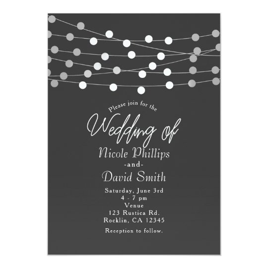 Grey Silver String Lights Modern Wedding Card
