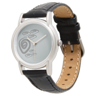 Grey silver swirls graphic design watch