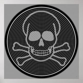 Grey Skull & Crossbones Emblem Poster