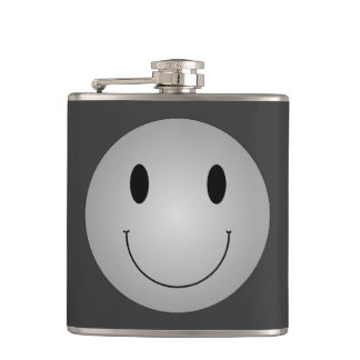 Grey Smiley Hip Flask