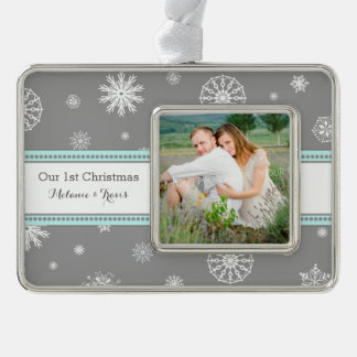 Grey Snow Couples First Christmas Ornament