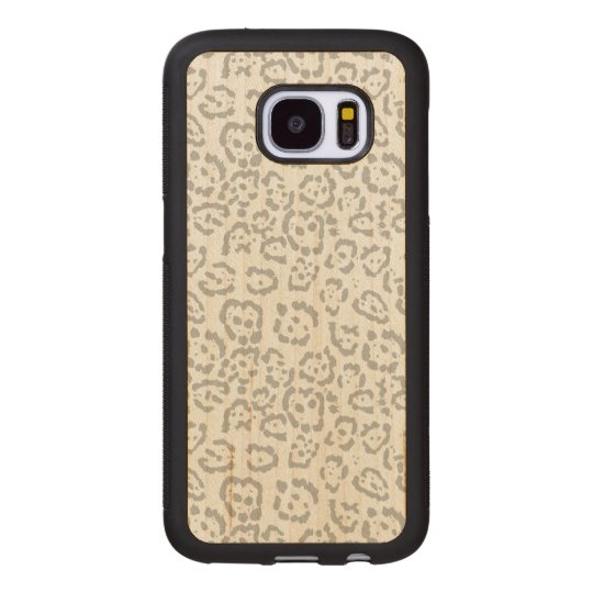 Grey Snow Leopard Cat Animal Print Wood Samsung Galaxy S7 Case
