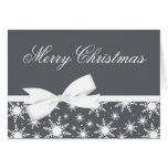 Grey Snowflake Bow Christmas Holiday Greeting Card